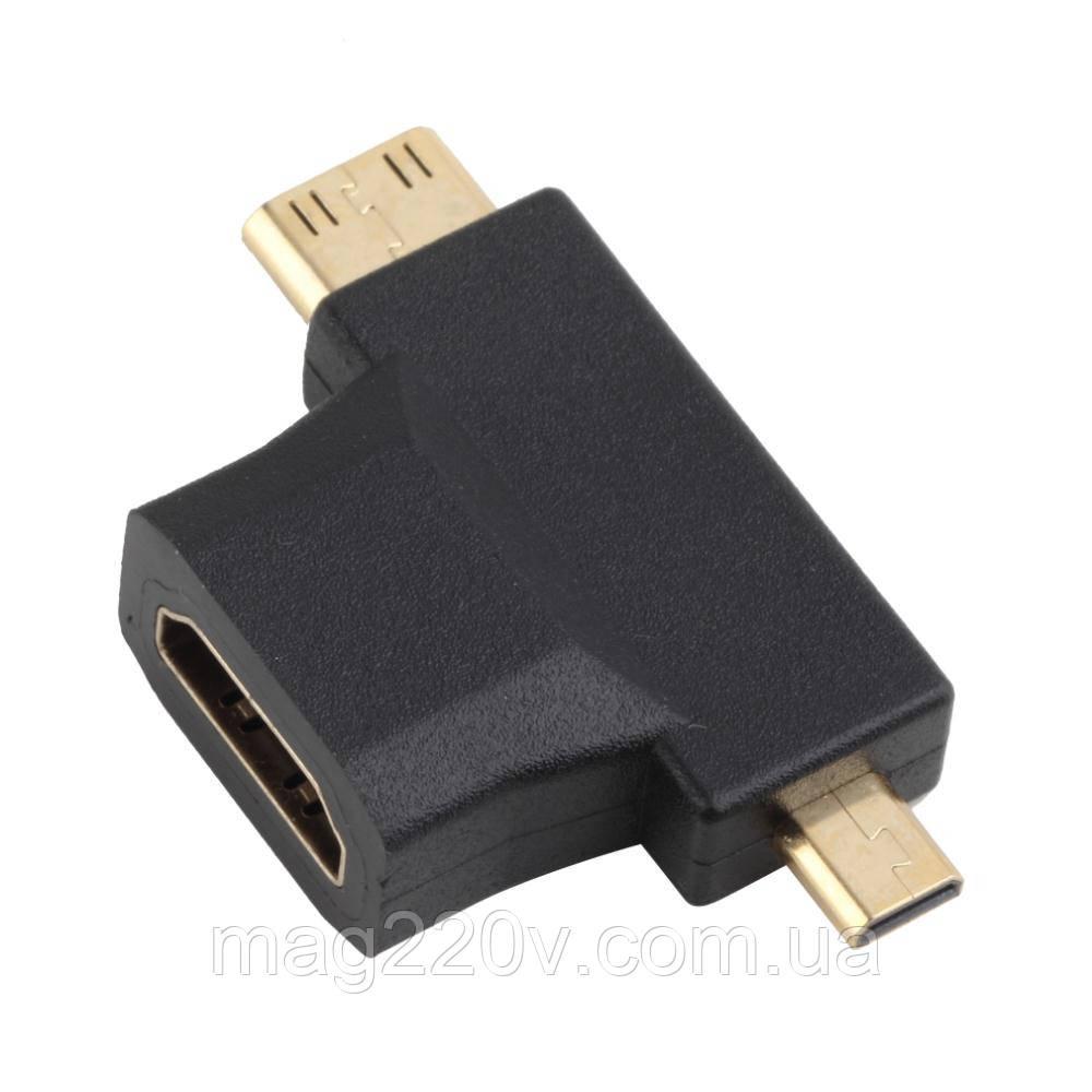 Переходник 3 в 1 HDMI/mini HDMI/ micro HDMI