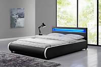 Кровать кожаная SEVI 180х200 см. с LED подсветкой, фото 1