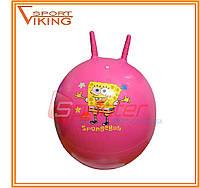 Мяч-прыгун с рожками d-55 см (розовый с рисунком)