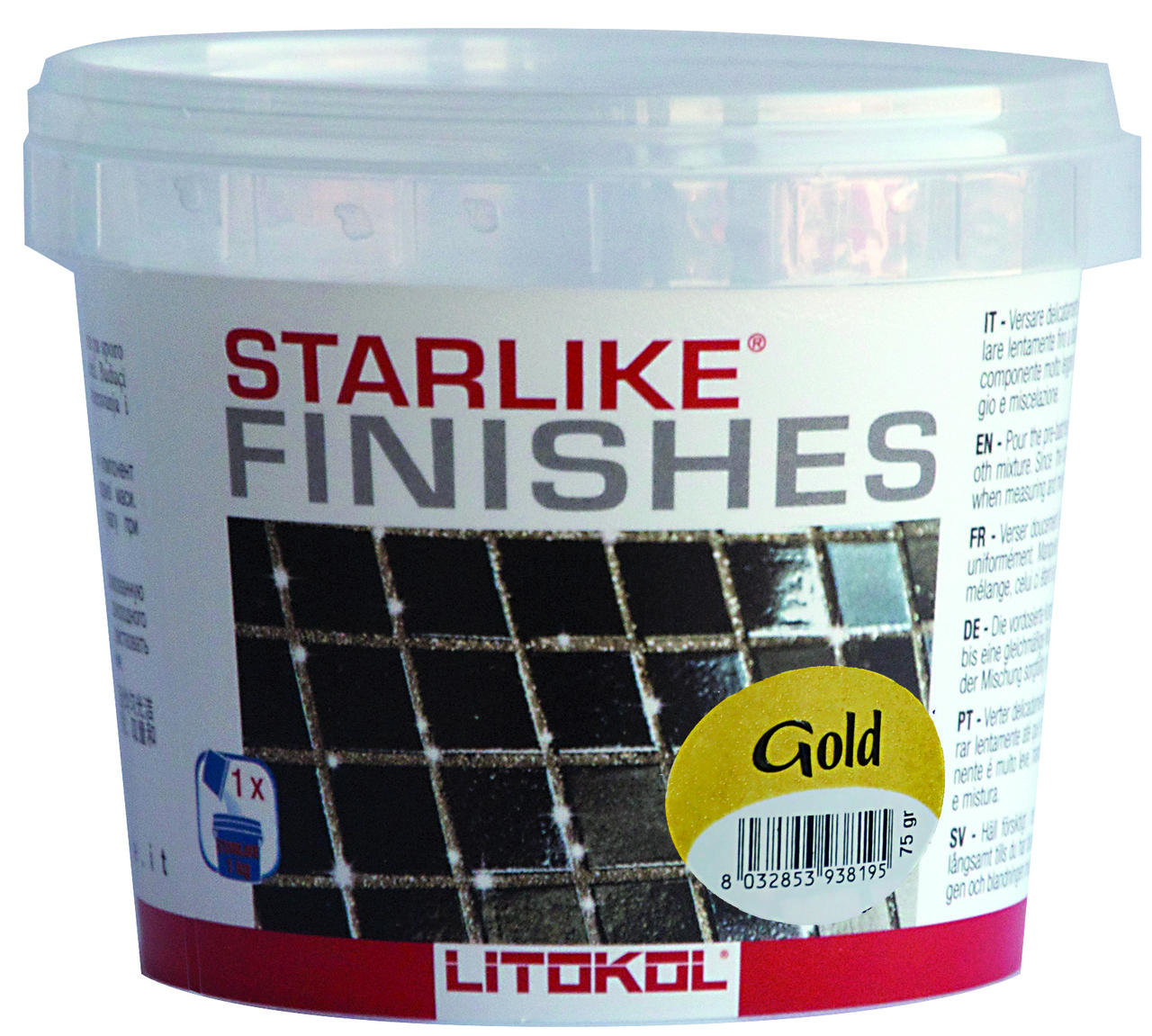 Добавка для затирки Litokol Starlike Gold, 150гр (золотая крошка)