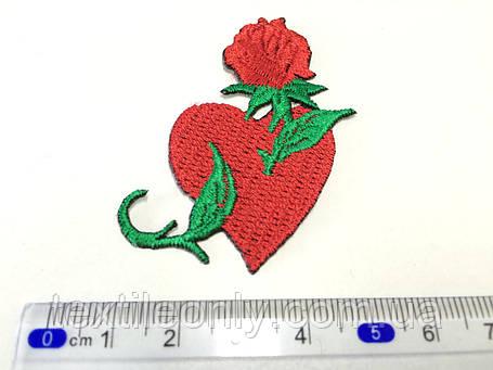Нашивка Татуировка Сердце с розой , фото 2
