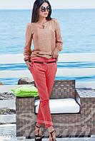 Укороченные коралловые брюки