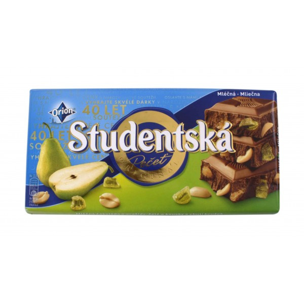 Шоколад Studentska молочный с грушей, 180 г