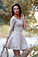 Платье короткое, приталенное, с карманчиками, осень-весна. (Цветочный принт, серо-бежевое) 6 цветов.