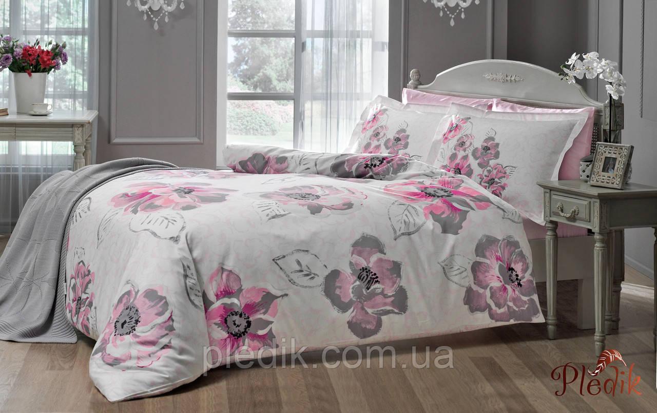 Комплект постельного белья 200х220 TAC DELUX-SATIN PEONY V01 розовый