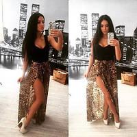 Женское платье в пол с леопардовым низом