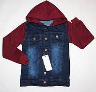 Джинсовая куртка с трикотажными рукавами 8-9,9-10,10-11,11-12,12-13 лет