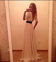 Женское платье в пол золотой песок