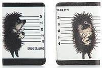 """Обложка на паспорт из мягкой кожи """"Ежик Drug Dealing"""""""