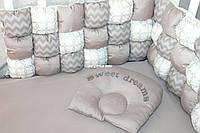 """Комлект постельного белья в детскую кроватку """" Изысканный серый"""""""