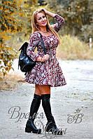 Платье короткое, приталенное, с карманчиками, осень-весна. (Цветочный принт, серо-бордовое) 6 цветов.