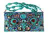Кожаная сумочка клатч вышитая натуральными камнями и бисером