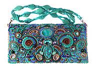 Кожаная сумочка клатч вышитая натуральными камнями и бисером, фото 1