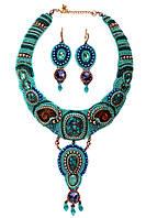 Колье ожерелье и серьги из натуральных камней с бирюзой , фото 1