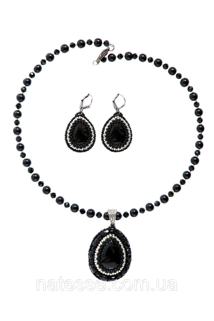 Сережки і кулон з натуральних каменів з чорним агатом
