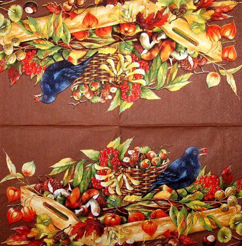 Салфетка декупажная Дрозд и дары природы на коричневом фоне 1731