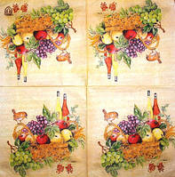Редкая салфетка декупажная птичка, фрукты и вино 1746