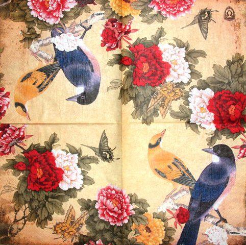 Редкая салфетка декупажная Птицы в пионах 1748