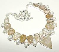 Колье из натуральных камней - Золотой Рутиловый Кварц (Волос Венеры, Волосатик) и Жемчуг