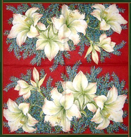 Салфетка декупажная Белые цветы на красном фоне 1759