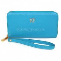 Женский кожаный кошелек Katerina Fox голубого цвета из натуральной кожи (KF-613)
