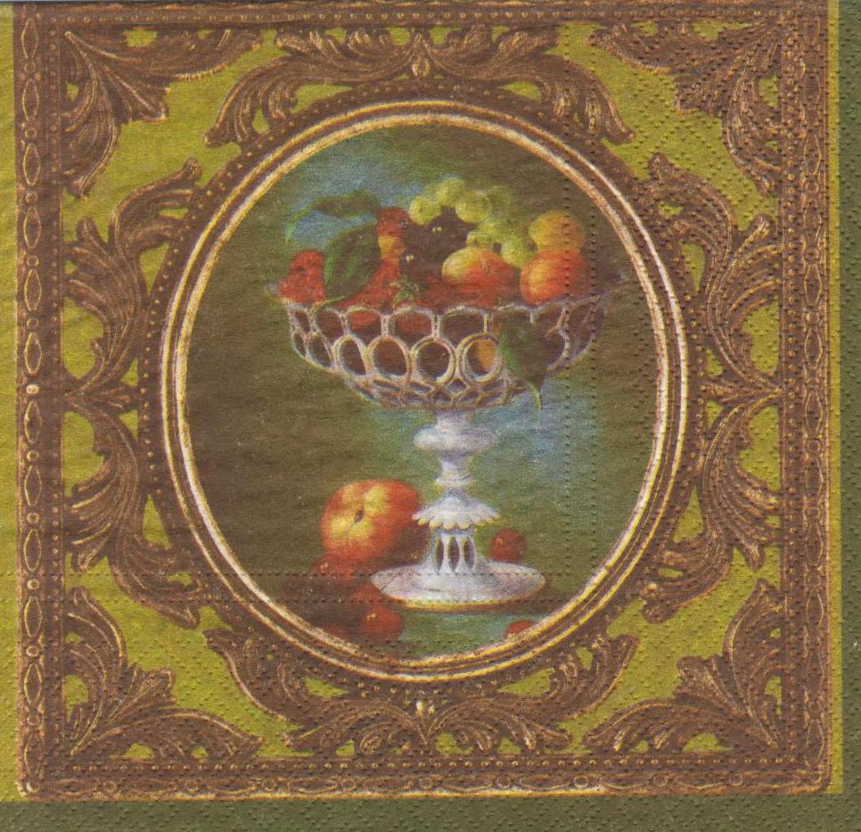 Редкая салфетка декупажная вазочки с фруктами 1798