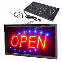 Анимированные движение работает LED бизнес открыт знак + вкл / выкл переключатель яркий свет неоновый AC220V