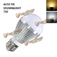 E27 7W звук и обнаружение движения авто PIR датчик света LED Свет колбы лампы AC85-265V