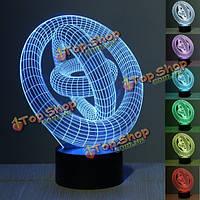 3D иллюзия кабель 7 изменение цвета ночной свет сенсорный выключатель LED настольный настольная лампа