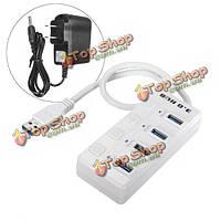 4 порта супер скорость 5Gbps USB 3.0 концентратор LED адаптер питания вкл/выкл + US адаптер