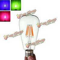 E27 st64 8w Edison rereo RGB стекло 800lm старинные лампы накаливания AC220В свет колбы лампы