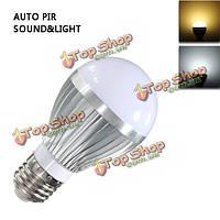 E27 5w 5730 SMD LED автозвук и датчик света PIR AC85-265V движения лампочка