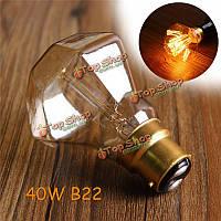 B22 40Вт 17anchores алмазов модели ретро плоской головкой Edison старинные свет колбы лампы AC110В-220В