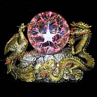 Золотой дракон феникс база плазменный шар магия освещение шар тесла лампа
