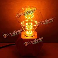 Дерева настольная лампа промышленного лофта Edison свет для прикроватного кафе E27 марочный
