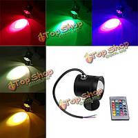Лампа водонепроницаемая цветная светодиодная LED RGB DC12V 10w с пультом управления