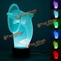 3D дельфин оптическая иллюзия 7 изменение цвета USB нажмите LED стол стол декор ночь свет лампы