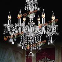E12 6 глав Clear хрустальная люстра столовая спальня потолок кулон AC110-240В светильник