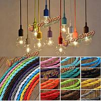 3 метра цветные DIY твист плетеный ткани гибкий кабель провод шнура год сбора винограда электрический свет лампы