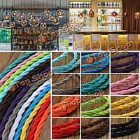 10м старинные цветные DIY твист плетеный ткани гибкий кабель провод кабель электрический свет лампы
