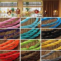 5м цвета DIY твист плетеный ткани гибкий кабель провод шнура год сбора винограда электрический свет лампы