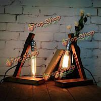 Лофт ретро дерево ик пробка e27 Edison настольная лампа кафе украшения домашний бар
