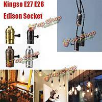 Kingso e27 E26 Edison гнездо в стиле ретро подвесной светильник шнура диммер с выключателем лампы переменного тока 110-220В
