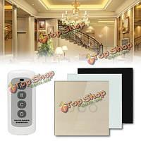 1 способ 3 банды кристаллического стекла сенсорная панель настенный выключатель света пульт дистанционного управления