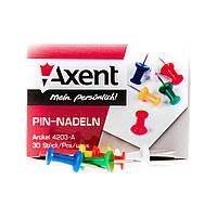 Кнопки канцелярские гвоздики  30шт 4203 Axent