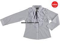 Нарядная белая школьная блузка рубашка детская на девочку 5, 6, 8 лет.Турция!Детская летняя одежда