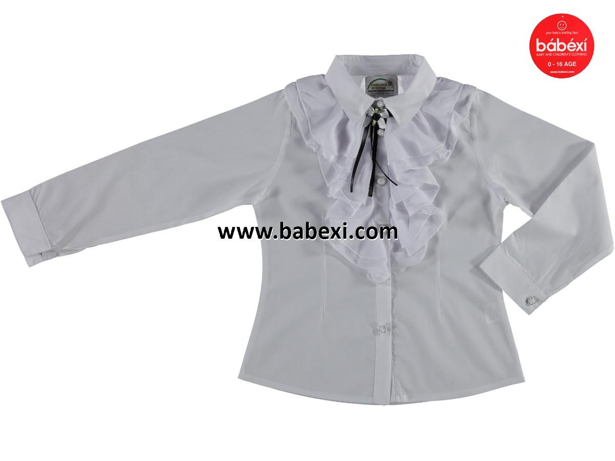 56c74470a52 Нарядная белая школьная блузка рубашка детская на девочку 9