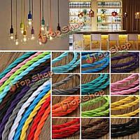 1m цвета DIY твист плетеный ткани гибкий кабель провод шнура год сбора винограда электрический свет лампы