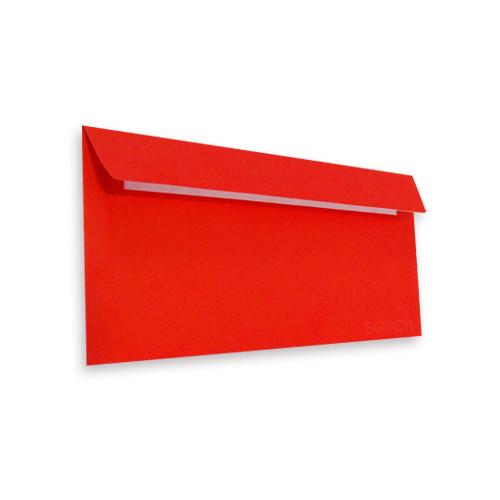 Цветной конверт Е65 (1+0) самоклеющийся с силиконовой лентой, красный