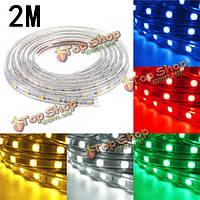 Водонепроницаемый IP67 2m 60smd 5050 красный / синий / зеленый / теплый белый / белый / RGB LED полосы света 220v